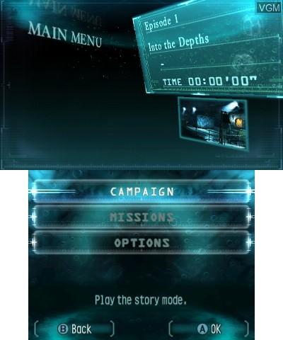 Menu screen of the game Resident Evil - Revelations on Nintendo 3DS