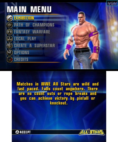 Menu screen of the game WWE All Stars on Nintendo 3DS