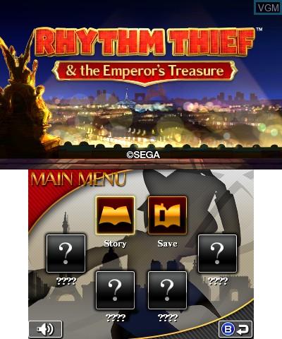 Menu screen of the game Rhythm Thief & the Emperor's Treasure on Nintendo 3DS