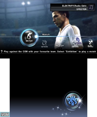 Menu screen of the game Pro Evolution Soccer 2012 3D on Nintendo 3DS