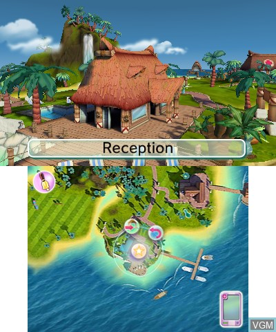 Menu screen of the game Pets Paradise Resort 3D on Nintendo 3DS