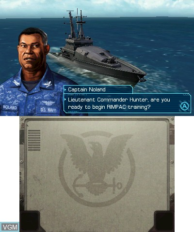 Menu screen of the game Battleship on Nintendo 3DS