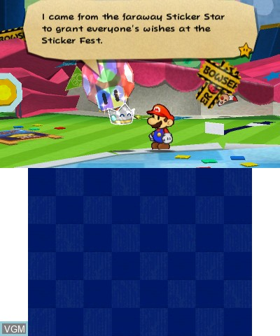 Menu screen of the game Paper Mario - Sticker Star on Nintendo 3DS