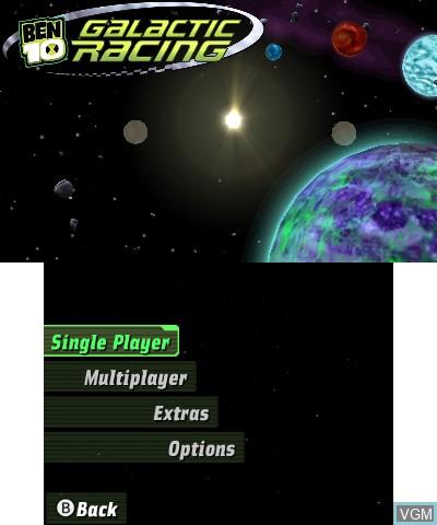 Menu screen of the game Ben 10 - Galactic Racing on Nintendo 3DS