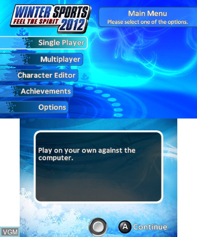 Menu screen of the game Winter Sports 2012 - Feel the Spirit on Nintendo 3DS