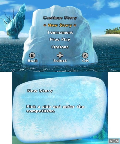 Menu screen of the game Ice Age 4 - Continental Drift - Arctic Games on Nintendo 3DS