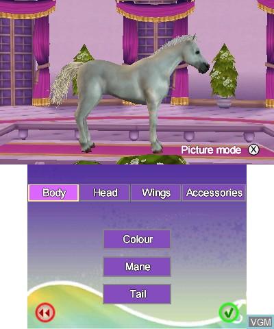 Menu screen of the game Bella Sara - The Magical Horse Adventures on Nintendo 3DS