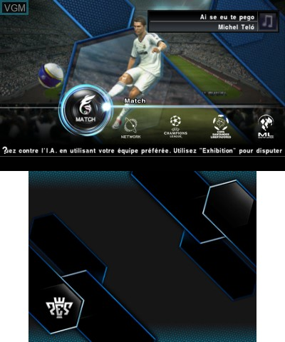 Menu screen of the game Pro Evolution Soccer 2013 3D on Nintendo 3DS