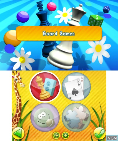 Menu screen of the game Junior Games 3D on Nintendo 3DS