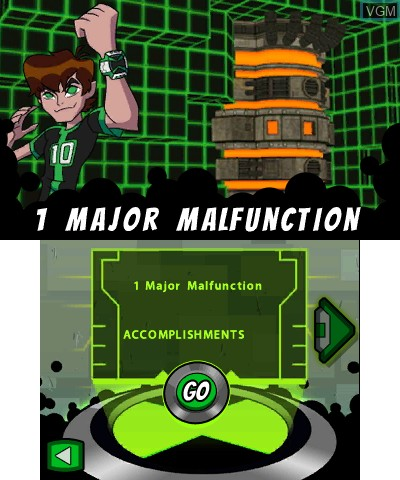 Menu screen of the game Ben 10 - Omniverse on Nintendo 3DS