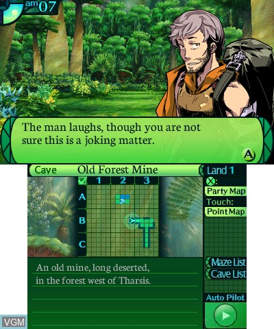 Menu screen of the game Etrian Odyssey IV - Legends of the Titan on Nintendo 3DS