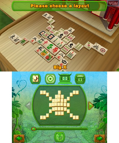 Menu screen of the game 3D MahJongg on Nintendo 3DS