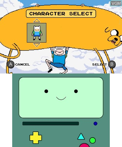 Menu screen of the game Adventure Time - Explore the Dungeon Because I DON'T KNOW! on Nintendo 3DS