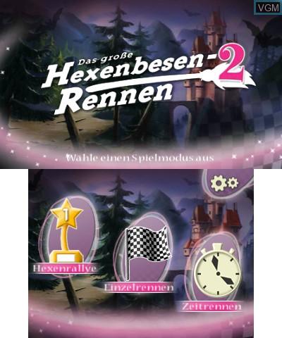 Menu screen of the game Bibi Blocksberg - Das Grosse Hexenbesen-Rennen 2 on Nintendo 3DS