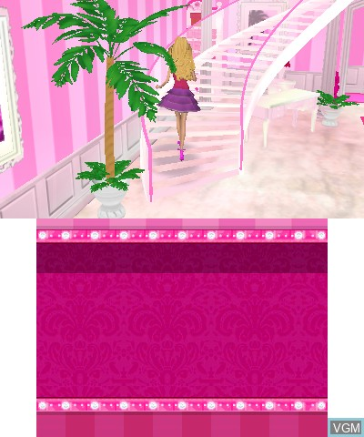 Menu screen of the game Barbie Dreamhouse Party on Nintendo 3DS