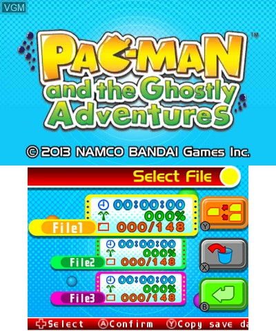 Menu screen of the game Pac-Man and the Ghostly Adventures on Nintendo 3DS