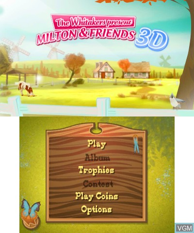 Menu screen of the game Whitakers Present, The - Milton & Friends 3D on Nintendo 3DS