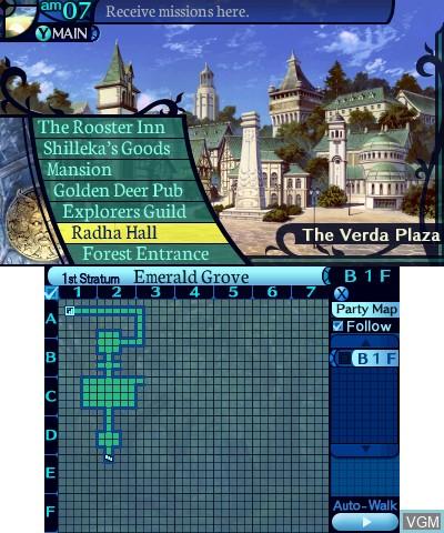 Menu screen of the game Etrian Odyssey Untold - The Millennium Girl on Nintendo 3DS