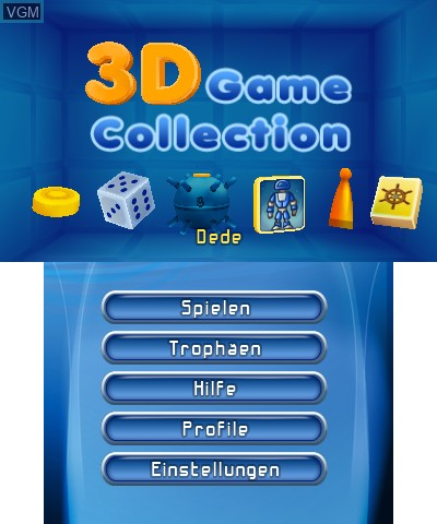 Menu screen of the game 3D Game Collection on Nintendo 3DS