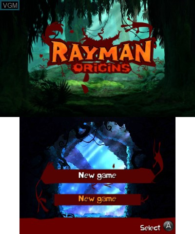 Menu screen of the game Rayman and Rabbids Family Pack on Nintendo 3DS