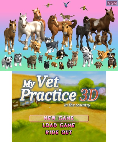 Menu screen of the game 2 in 1 - My Vet Practice 3D and My Baby Pet Hotel 3D on Nintendo 3DS