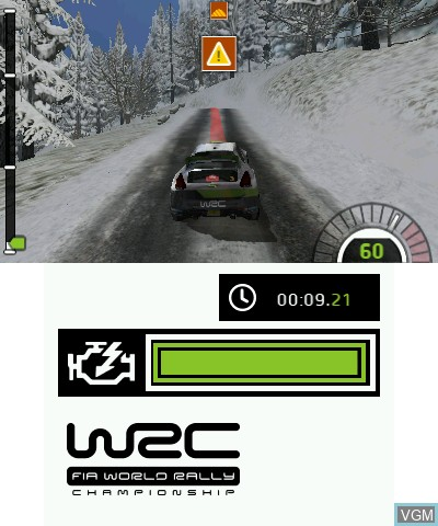 Menu screen of the game WRC - FIA World Rally Championship The Official Game on Nintendo 3DS