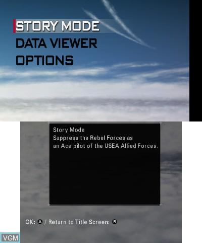 Menu screen of the game Ace Combat - Assault Horizon Legacy+ on Nintendo 3DS