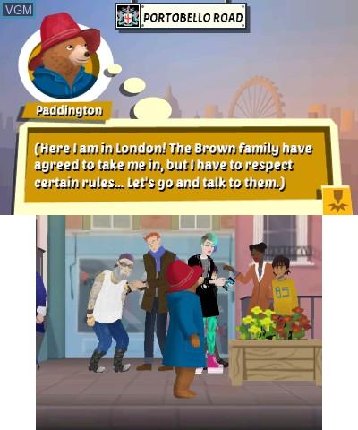 Menu screen of the game Paddington Adventures In London on Nintendo 3DS