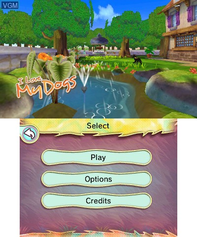 Menu screen of the game I Love My Dogs on Nintendo 3DS