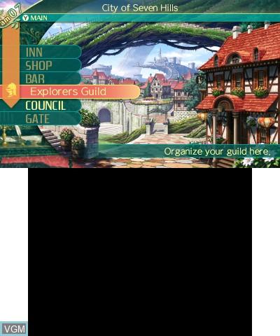 Menu screen of the game Etrian Odyssey V - Beyond the Myth on Nintendo 3DS
