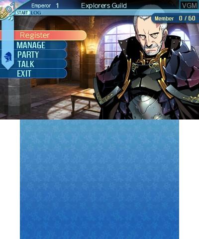 Menu screen of the game Etrian Odyssey Nexus on Nintendo 3DS