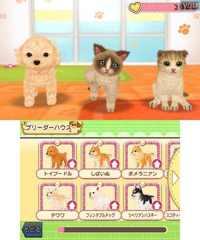 Menu screen of the game Kawaii Pet to Kurasou! Wan Nyan & Idol Animal on Nintendo 3DS