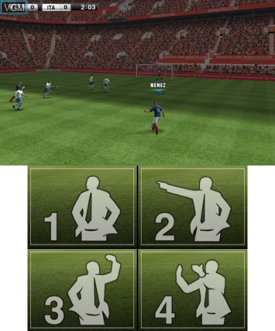 In-game screen of the game Pro Evolution Soccer 2012 3D on Nintendo 3DS