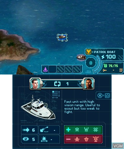 In-game screen of the game Battleship on Nintendo 3DS