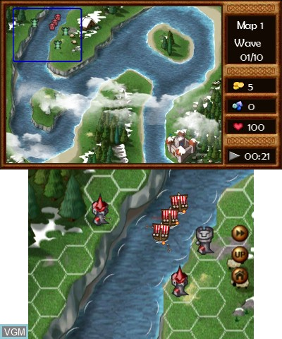 In-game screen of the game Viking Invasion 2 - Tower Defense on Nintendo 3DS