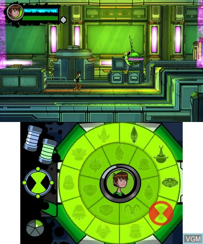 In-game screen of the game Ben 10 - Omniverse 2 on Nintendo 3DS
