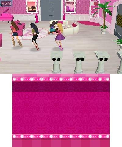 In-game screen of the game Barbie Dreamhouse Party on Nintendo 3DS