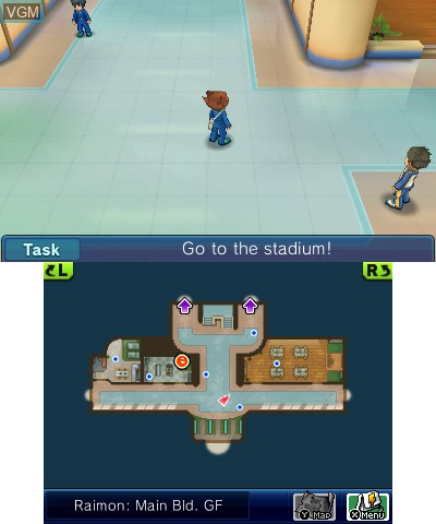 In-game screen of the game Inazuma Eleven GO - Chrono Stones - Wildfire on Nintendo 3DS