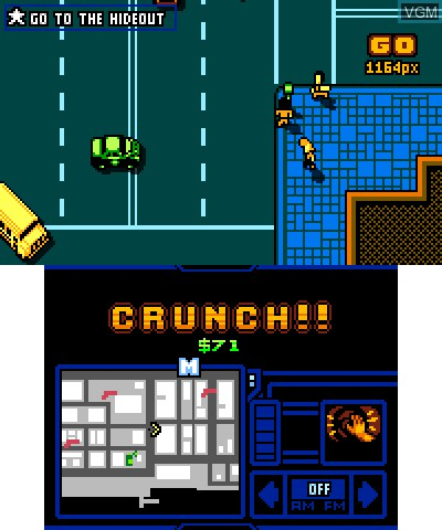 In-game screen of the game Retro City RampageDX on Nintendo 3DS