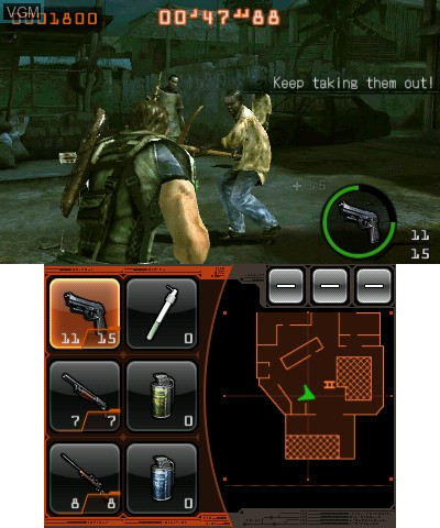 In-game screen of the game Resident Evil - The Mercenaries 3D on Nintendo 3DS