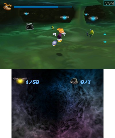 In-game screen of the game Rayman 3D on Nintendo 3DS