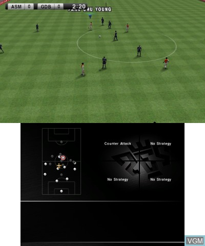 In-game screen of the game Pro Evolution Soccer 2011 3D on Nintendo 3DS