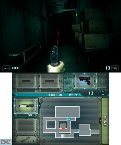 In-game screen of the game Resident Evil - Revelations on Nintendo 3DS