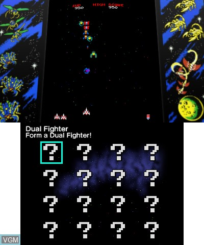 In-game screen of the game Pac-Man & Galaga Dimensions on Nintendo 3DS