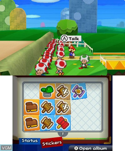 In-game screen of the game Paper Mario - Sticker Star on Nintendo 3DS