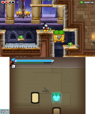 In-game screen of the game Epic Mickey - The Power of Illusion on Nintendo 3DS