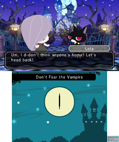In-game screen of the game Gabrielle's Ghostly Groove 3D on Nintendo 3DS