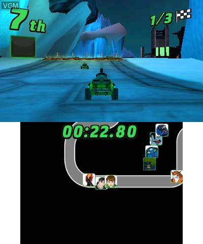 In-game screen of the game Ben 10 - Galactic Racing on Nintendo 3DS