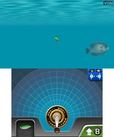 In-game screen of the game Reel Fishing Paradise 3D on Nintendo 3DS