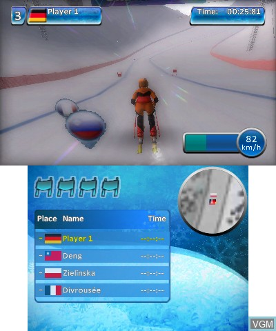 In-game screen of the game Winter Sports 2012 - Feel the Spirit on Nintendo 3DS